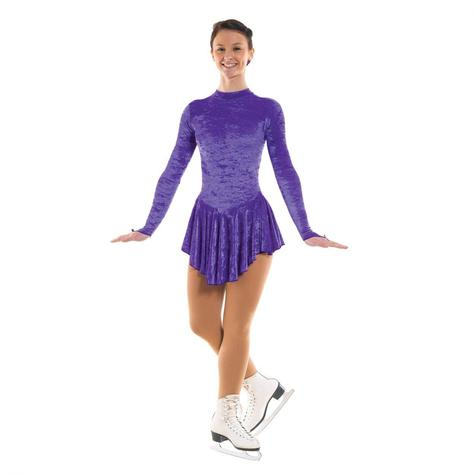 Skating dress in crushed velvet purple