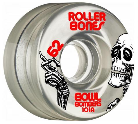 Rollerbones Quad Wheels Bowl Bombers 101a Clear 62  MM