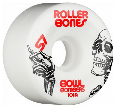 Rollerbones Quad Wheels Bowl Bombers 101a White 57  MM