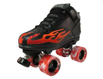 Sure-Grip Rock Black / Red Flame Roller Skates