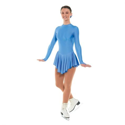 Plain Nylon Lycra Cornflower Blue Skating Dress