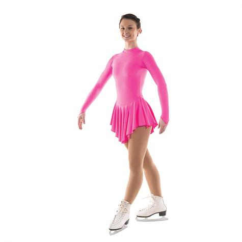 Plain Nylon Lycra Fluorescent Pink Skating Dress
